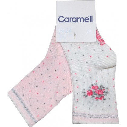 Луксозни бебешки чорапи ЦВЕТЯ 2 броя фирма КАРАМЕЛ.