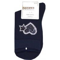 Дамски чорапи СЪРЦА в тъмно синьо КОД 01.