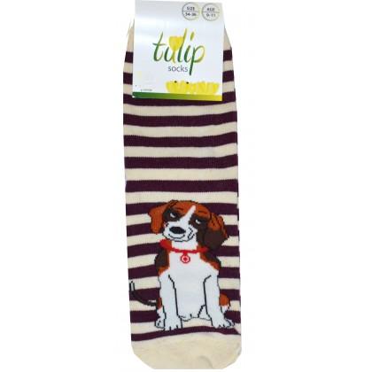 Детски чорапи BROSS КУЧЕ 31-36 номер в кафяво рае.