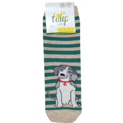 Детски чорапи BROSS КУЧЕ 31-36 номер в зелено рае.