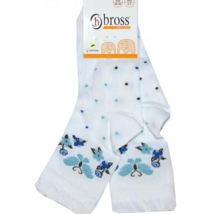 Детски чорапи BROSS ЦВЕТЯ 28-30 номер в бяло.