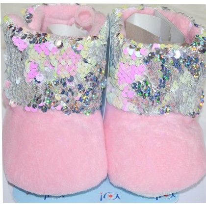 Детски меки ботуши с пайети в розово.