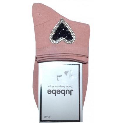 Дамски чорапи СЪРЦЕ в розово.