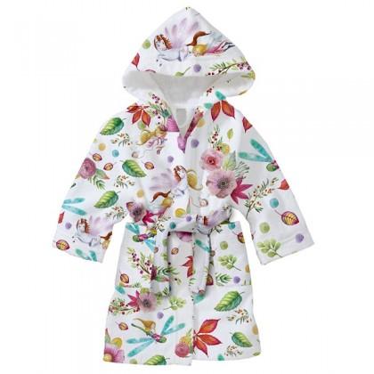 Детски халат за баня ЦВЕТЯ 2-8 години.