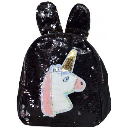 Детска раница пайети ЕДНОРОГ в черно.
