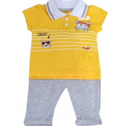 Бебешки комплект МОРСКИ 68-86 ръст в жълто.