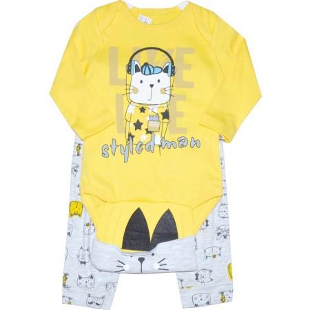 Бебешки комплект ЗАЙЧЕ 3 части 68-74 ръст в жълто.