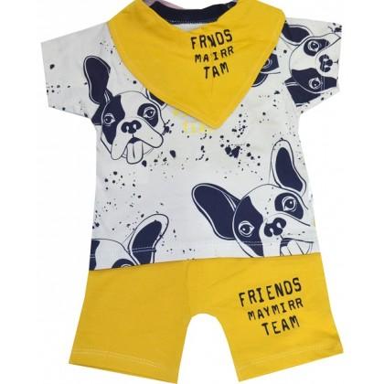 Бебешки комплект 3 части КУЧЕ 6-9 месеца в жълто.
