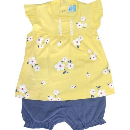 Бебешки комплект ЦВЕТЯ 3-18 месеца в нежно жълто.
