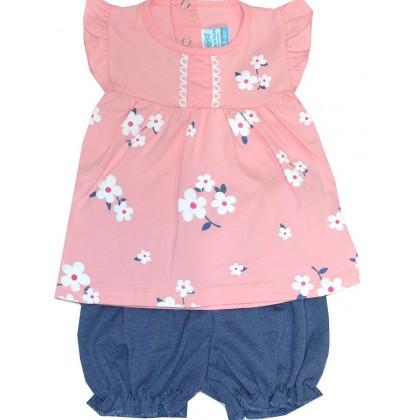 Бебешки комплект ЦВЕТЯ 3-18 месеца в розово.