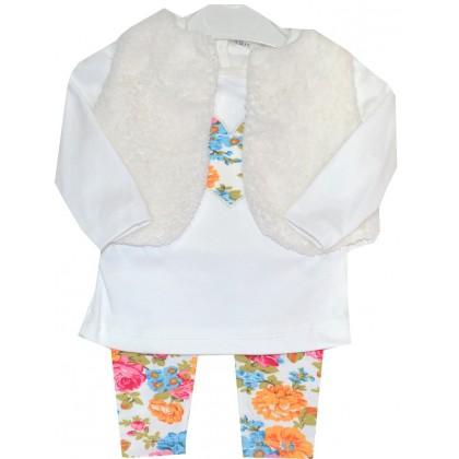Бебешки комплект ЦВЕТЯ С БЯЛ ЕЛЕК 3 части 0-12 месеца.