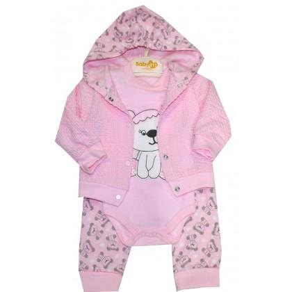 Бебешки комплект с жилетка РОЗОВ 0-3 месеца.