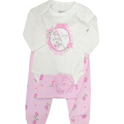 Бебешки комплект РОЗИ 68-74 ръст в розово.