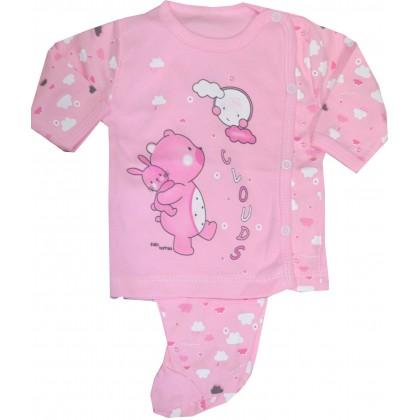 Бебешки комплект МЕЧО 0-3 месеца в розово.