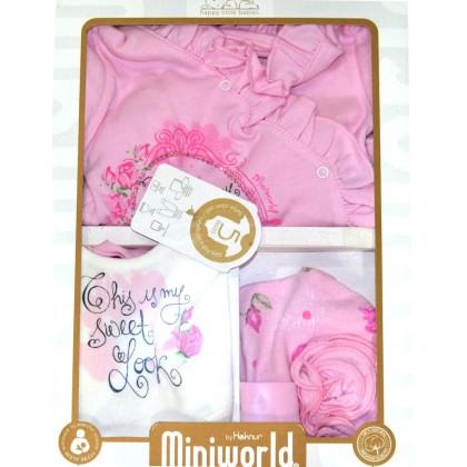 Луксозен бебешки комплект за изписване ЦВЕТЯ в розово.