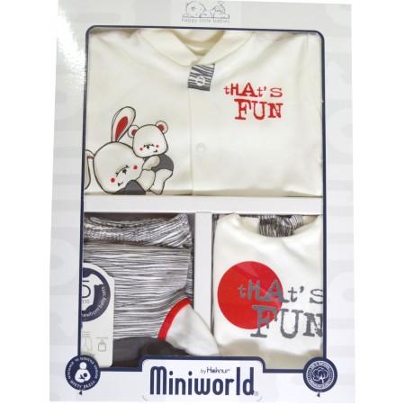 Бебешки комплект за изписване МЕЧЕ И ЗАЙЧЕ  в сиво.