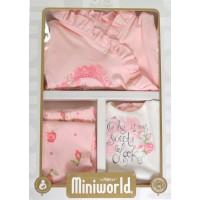 Луксозен бебешки комплект за изписване ЦВЕТЯ в прасковено.