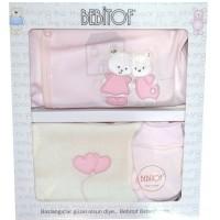 Луксозен бебешки комплект за изписване МЕЧЕТА  в розово.