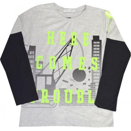 Юношеска блуза HERE COMES 140-164 ръст в светло сиво.