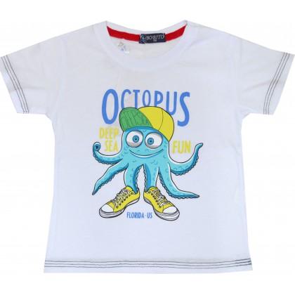 Детска блуза ОКТОПОД 86-104 ръст в бяло.