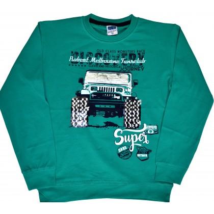 Детска блуза SUPER CARS 7-10 години в зелено.