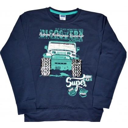 Детска блуза SUPER CARS 7-10 години в тъмно синьо.