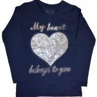 Детска блуза BREEZE СЪРЦЕ 116-152 ръст в тъмно синьо.