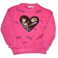 Ватирана детска блуза СЪРЦЕ 128-164 ръст в циклама.