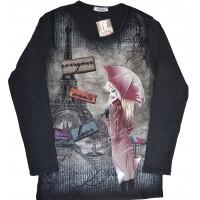 Юношеска блуза МОМИЧЕ С ЧАДЪР 14-16 години в тъмен графит.