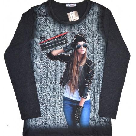 Юношеска блуза МОМИЧЕ 14-16 години в тъмен графит.
