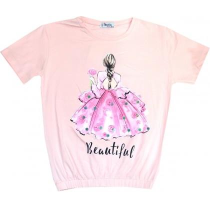 Къса детска блуза МОМИЧЕ С РОЗА 12-15 години.
