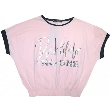 Юношеска къса блуза 12-16 години в нежно розово.
