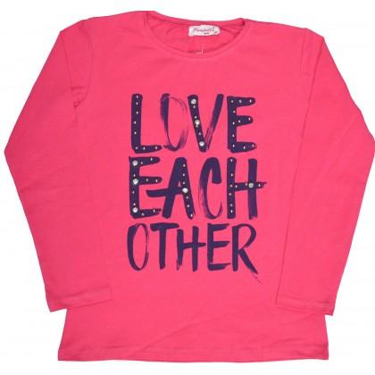 Детска блуза LOVE 8-15 години в циклама.