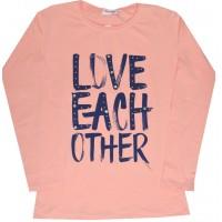 Детска блуза LOVE 8-15 години в праскова.