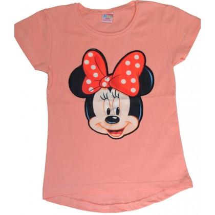 Светеща детска блуза МИНИ МАУС 5-8 години в праскова.