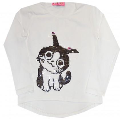 Детска блуза СЛАДКО КОТЕ 122-140 ръст в бяло.