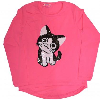Детска блуза СЛАДКО КОТЕ 122-140 ръст в розово.