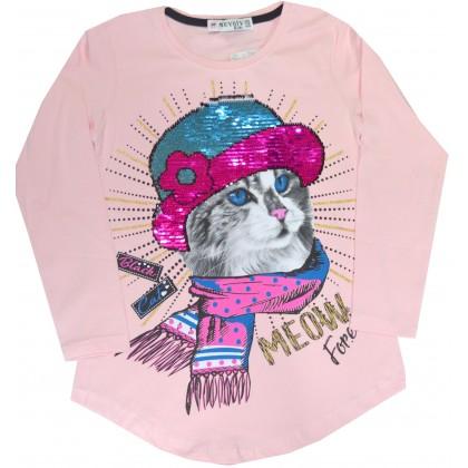 Детска блуза КОТЕ С ШАПКА 128-164 ръст в розово.