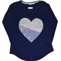 Детска блуза СЪРЦЕ 128-164 ръст в синьо.