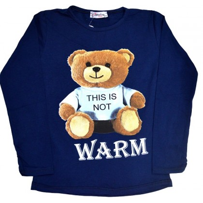 Детска блуза МЕЧО 4-12 години в тъмно синьо.