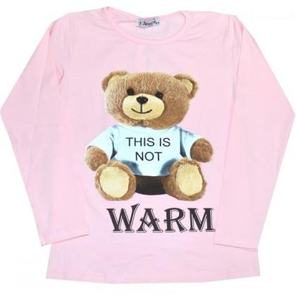 Детска блуза МЕЧО 4-12 години в розово.