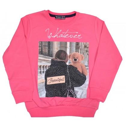 Ватирана детска блуза МОМИЧЕ С МЕЧЕ 7-11 години в бонбонено розово.