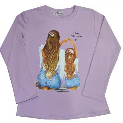 Ватирана детска блуза  I LOVE YOU MOM 8-12 години в лилаво.