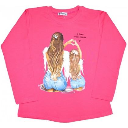 Ватирана детска блуза  I LOVE YOU MOM 8-12 години.