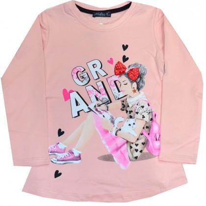 Ватирана детска блуза МОМИЧЕ С КОТЕ 6-9 години.