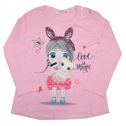 Детска блуза ПАЛЦИ ЗА БАЛЕТ 3-7 години в розово.