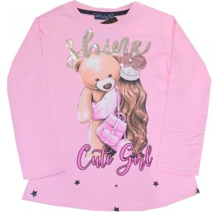 Ватирана детска блуза МОМИЧЕ С МЕЧО 6-9 години в розово.