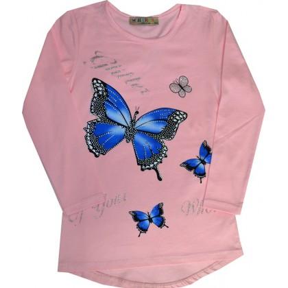 Детска блуза ПЕПЕРУДА 134-164 в светло розово.