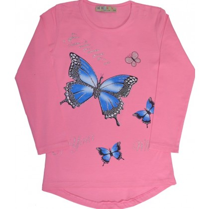 Детска блуза ПЕПЕРУДА 134-164 в розово.