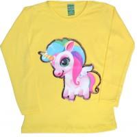 Детска блуза ПОНИ 2-5 години в жълто.